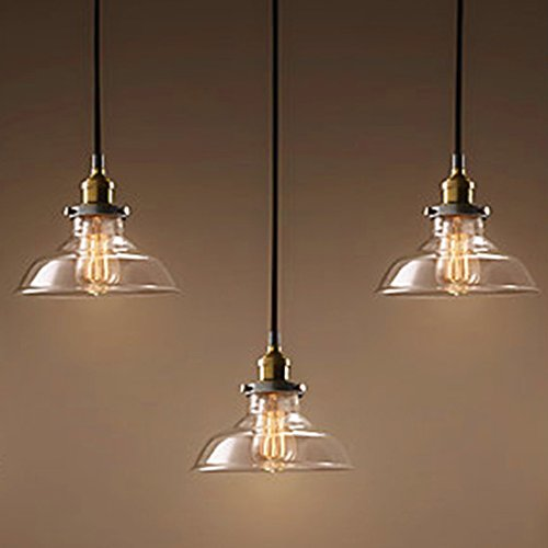 Industrial Retro Country Style Clear Glass Island Chandelier LITFAD 5 Lights Pendant Light With Clear Cone Glass Shade Antique Ceiling Light 0 0