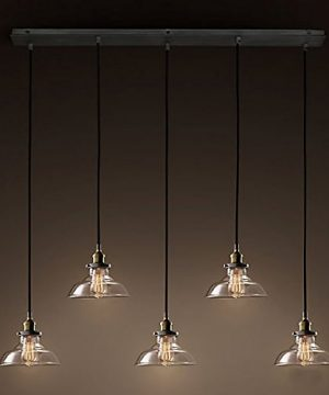 Industrial Retro Country Style Clear Glass Island Chandelier LITFAD 5 Lights Pendant Light With Clear Cone Glass Shade Antique Ceiling Light 0 300x360
