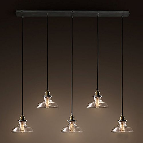 Industrial Retro Country Style Clear Glass Island Chandelier LITFAD 5 Lights Pendant Light With Clear Cone Glass Shade Antique Ceiling Light 0