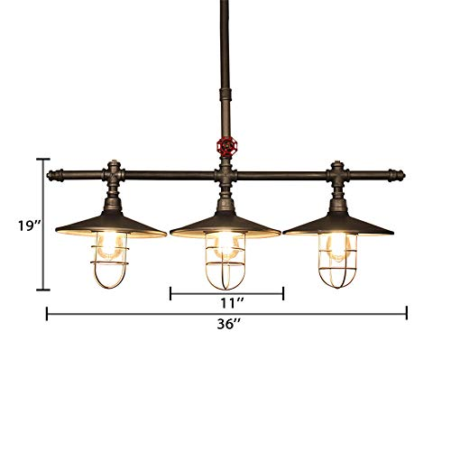 Industrial Retro Vintage Style Island Light NIUYAO Farmhouse Industry Steam Punk Water Pipe Rustic Saucer Pendant Lighting For Dining Room Kitchen Island Cafe Bar 511166 0 1