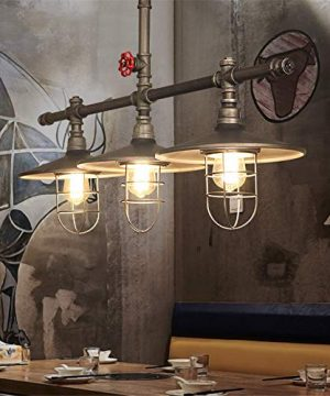 Industrial Retro Vintage Style Island Light NIUYAO Farmhouse Industry Steam Punk Water Pipe Rustic Saucer Pendant Lighting For Dining Room Kitchen Island Cafe Bar 511166 0 4 300x360