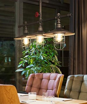 Industrial Retro Vintage Style Island Light NIUYAO Farmhouse Industry Steam Punk Water Pipe Rustic Saucer Pendant Lighting For Dining Room Kitchen Island Cafe Bar 511166 0 5 300x360
