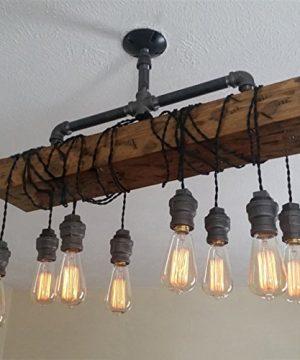 Industrial Rustic Wood Beam Linear Island Pendant Light 8 Light Chandelier Lighting Hanging Ceiling Fixture 0 0 300x360