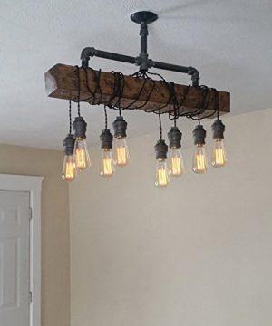 Industrial Rustic Wood Beam Linear Island Pendant Light 8 Light Chandelier Lighting Hanging Ceiling Fixture 0 2 300x360
