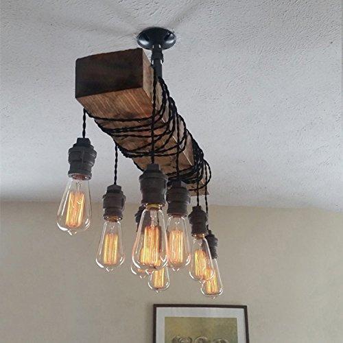 Industrial Rustic Wood Beam Linear Island Pendant Light 8 Light Chandelier Lighting Hanging Ceiling Fixture 0 3