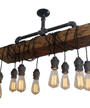 Industrial Rustic Wood Beam Linear Island Pendant Light 8 Light Chandelier Lighting Hanging Ceiling Fixture 0 300x360
