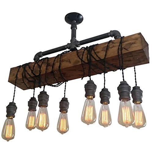 Industrial Rustic Wood Beam Linear Island Pendant Light 8 Light Chandelier Lighting Hanging Ceiling Fixture 0