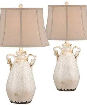 Isabella Cottage Table Lamps Set Of 2 Rustic Crackled Ivory Ceramic Jar Handcrafted Beige Bell Shade For Living Room Family Regency Hill 0 300x360