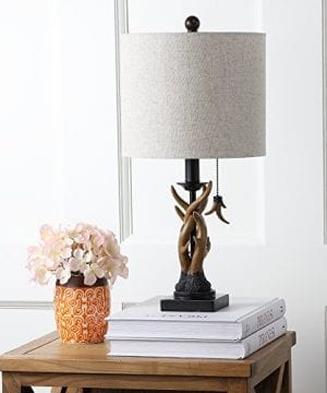 JONATHAN Y JYL1031A Mini Table Lamp 100 X 205 X 100 BlackBrown With Grey Shade 0 0 300x360