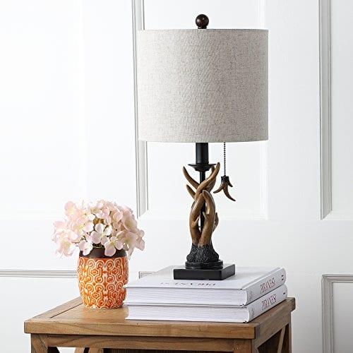 JONATHAN Y JYL1031A Mini Table Lamp 100 X 205 X 100 BlackBrown With Grey Shade 0 0