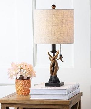 JONATHAN Y JYL1031A Mini Table Lamp 100 X 205 X 100 BlackBrown With Grey Shade 0 1 300x360