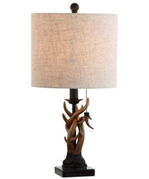JONATHAN Y JYL1031A Mini Table Lamp 100 X 205 X 100 BlackBrown With Grey Shade 0 2 300x360