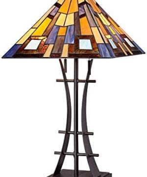 Jewel Tone Mission Table Lamp Iron Bronze Geometric Stained Glass Art Shade For Living Room Family Bedroom Bedside Robert Louis Tiffany 0 0 300x360