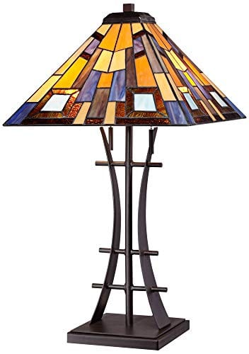 Jewel Tone Mission Table Lamp Iron Bronze Geometric Stained Glass Art Shade For Living Room Family Bedroom Bedside Robert Louis Tiffany 0 0