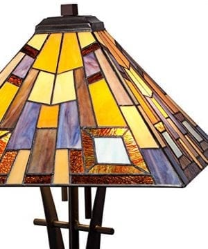 Jewel Tone Mission Table Lamp Iron Bronze Geometric Stained Glass Art Shade For Living Room Family Bedroom Bedside Robert Louis Tiffany 0 1 300x360
