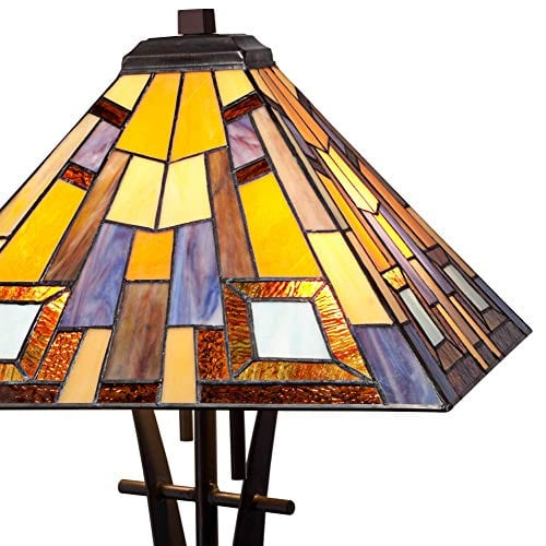 Jewel Tone Mission Table Lamp Iron Bronze Geometric Stained Glass Art Shade For Living Room Family Bedroom Bedside Robert Louis Tiffany 0 1