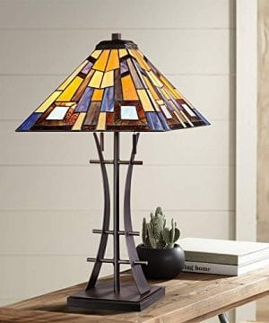 Jewel Tone Mission Table Lamp Iron Bronze Geometric Stained Glass Art Shade For Living Room Family Bedroom Bedside Robert Louis Tiffany 0 300x360