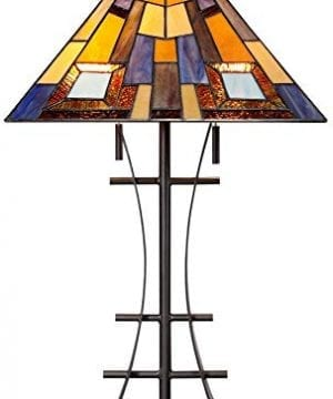 Jewel Tone Mission Table Lamp Iron Bronze Geometric Stained Glass Art Shade For Living Room Family Bedroom Bedside Robert Louis Tiffany 0 4 300x360