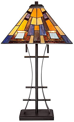 Jewel Tone Mission Table Lamp Iron Bronze Geometric Stained Glass Art Shade For Living Room Family Bedroom Bedside Robert Louis Tiffany 0 4