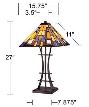 Jewel Tone Mission Table Lamp Iron Bronze Geometric Stained Glass Art Shade For Living Room Family Bedroom Bedside Robert Louis Tiffany 0 5 300x360