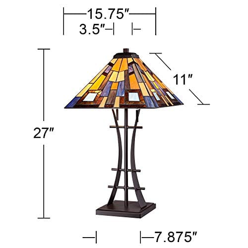 Jewel Tone Mission Table Lamp Iron Bronze Geometric Stained Glass Art Shade For Living Room Family Bedroom Bedside Robert Louis Tiffany 0 5
