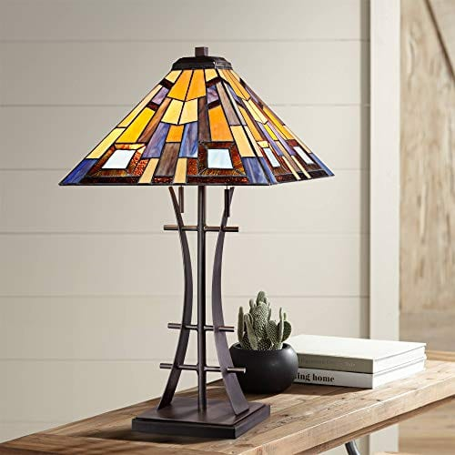 Jewel Tone Mission Table Lamp Iron Bronze Geometric Stained Glass Art Shade For Living Room Family Bedroom Bedside Robert Louis Tiffany 0