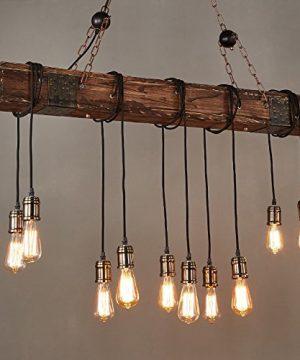 Jiuzhuo Farmhouse Style Dark Distressed Wood Beam Large Linear Island Pendant Light 10 Light Chandelier Lighting Hanging Ceiling Fixture 0 0 300x360