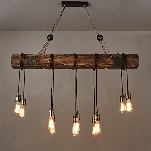 Jiuzhuo Farmhouse Style Dark Distressed Wood Beam Large Linear Island Pendant Light 10 Light Chandelier Lighting Hanging Ceiling Fixture 0 1