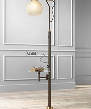 Jobe Modern Industrial Floor Lamp With Table Glass USB Charging Port Oiled Bronze Tea Glass Shade For Living Room Franklin Iron Works 0 300x360