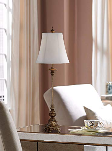 Juliette Traditional Buffet Table Lamps Set Of 2 Antique Gold Ornate Base White Bell Shade For Dining Room Regency Hill 0 0