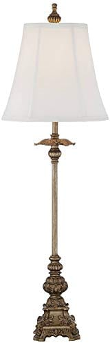 Juliette Traditional Buffet Table Lamps Set Of 2 Antique Gold Ornate Base White Bell Shade For Dining Room Regency Hill 0 1
