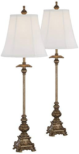 Juliette Traditional Buffet Table Lamps Set Of 2 Antique Gold Ornate Base White Bell Shade For Dining Room Regency Hill 0