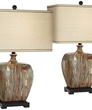 Julius Modern Table Lamps Set Of 2 Ceramic Copper Drip Rectangular Fabric Shade For Living Room Family Bedroom Possini Euro Design 0 300x360