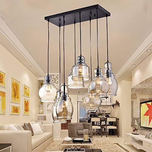 Kalri Vintage Kitchen Island Cognac Gl Chandelier Pendant Lighting Fixture With 8 Light Antique Black Finish Ceiling Lights For Dining Room Cafe
