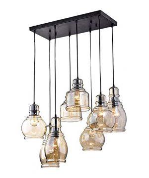 KALRI Vintage Kitchen Island Cognac Glass Chandelier Pendant Lighting Fixture With 8 Light Antique Black Finish Ceiling Lights For Dining Room Cafe Bar Style 1 0 300x360