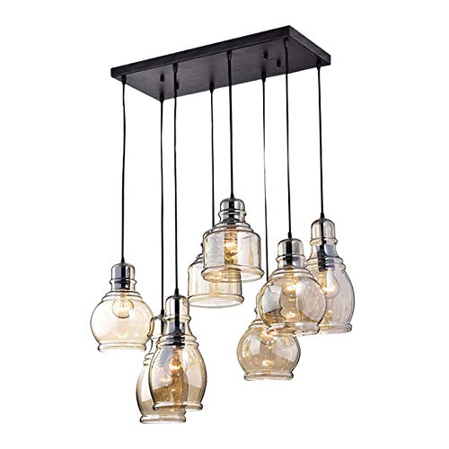 KALRI Vintage Kitchen Island Cognac Glass Chandelier Pendant Lighting Fixture With 8 Light Antique Black Finish Ceiling Lights For Dining Room Cafe Bar Style 1 0