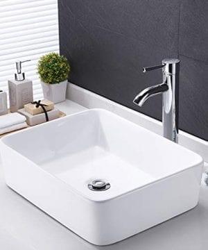 Kes Bathroom Vessel Sink 19 Inch White