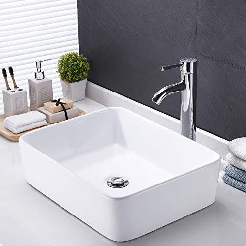 KES CUPC Bathroom White Rectangular Vessel Sink Above Counter Countertop Porcelain Bowl Sink For Lavatory Vanity Cabinet Contemporary BVS110 0 0