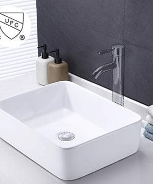 KES Bathroom Vessel Sink 19-Inch White Rectangle Above Counter Countertop  Porcelain Ceramic Bowl Vanity Sink, BVS110