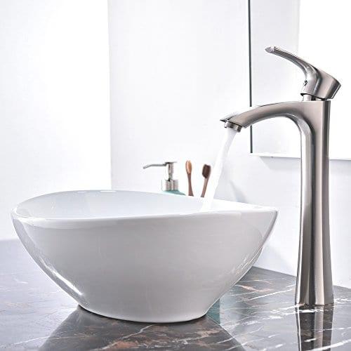 KINGO HOME Above Counter White Porcelain Ceramic Bathroom Vessel Sink 0 4