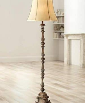 Rustic Floor Lamp French Faux Wood Antique Candlestick Beige Silk Bell Shade For Living Room Reading Bedroom Office Regency Hill 0 300x360