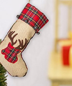 19 Inch Red Burlap Reindeer Head Applique Plush Fabric Christmas Stocking With Plaid Cuff 0 0 300x360