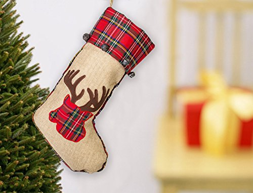 19 Inch Red Burlap Reindeer Head Applique Plush Fabric Christmas Stocking With Plaid Cuff 0 0