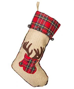 19 Inch Red Burlap Reindeer Head Applique Plush Fabric Christmas Stocking With Plaid Cuff 0 300x360
