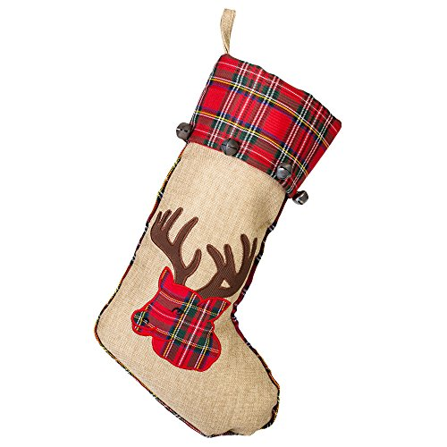 19 Inch Red Burlap Reindeer Head Applique Plush Fabric Christmas Stocking With Plaid Cuff 0