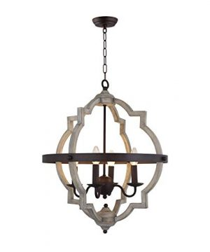 20 In W Transitional 4 Light Hall Or Foyer Light Fixture Stardust Two Toned Finish Wood Metal Chandelier Industrial Farmhouse Open Quatrefoil 0 0 300x360