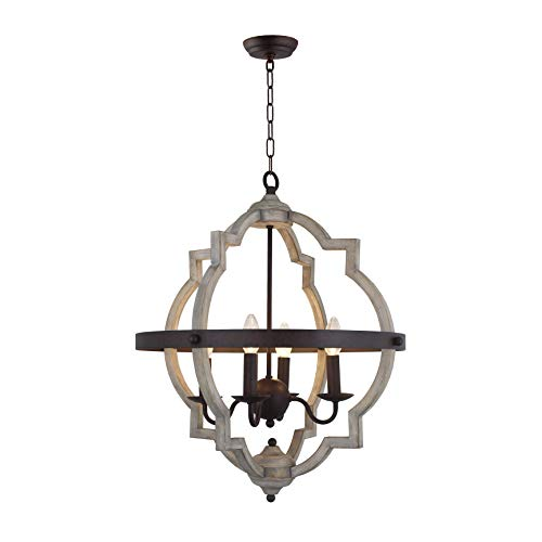 20 In W Transitional 4 Light Hall Or Foyer Light Fixture Stardust Two Toned Finish Wood Metal Chandelier Industrial Farmhouse Open Quatrefoil 0 0