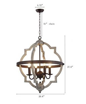 20 In W Transitional 4 Light Hall Or Foyer Light Fixture Stardust Two Toned Finish Wood Metal Chandelier Industrial Farmhouse Open Quatrefoil 0 1 300x360