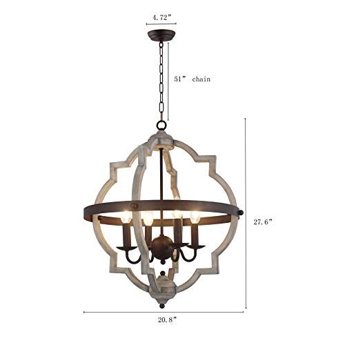 20 In W Transitional 4 Light Hall Or Foyer Light Fixture Stardust Two Toned Finish Wood Metal Chandelier Industrial Farmhouse Open Quatrefoil 0 1