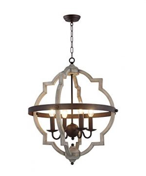 20 In W Transitional 4 Light Hall Or Foyer Light Fixture Stardust Two Toned Finish Wood Metal Chandelier Industrial Farmhouse Open Quatrefoil 0 300x360